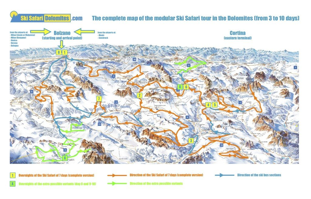 Dolomites Ski Safari map