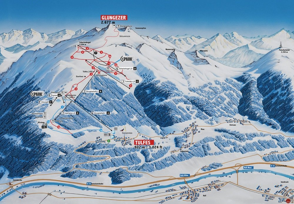 Ski resort map of Glungezer