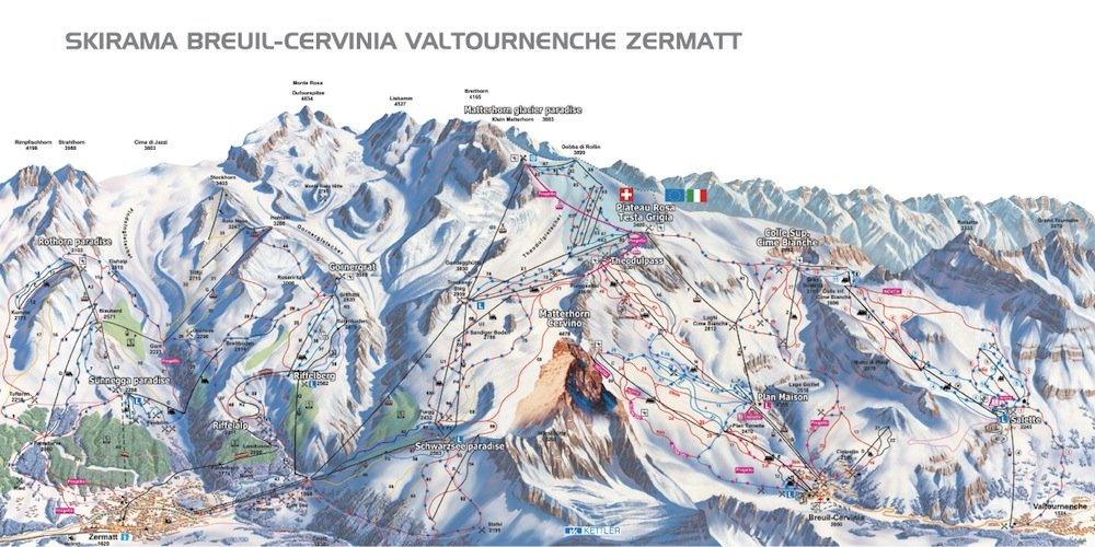 Ski resort map of Cervinia Zermatt