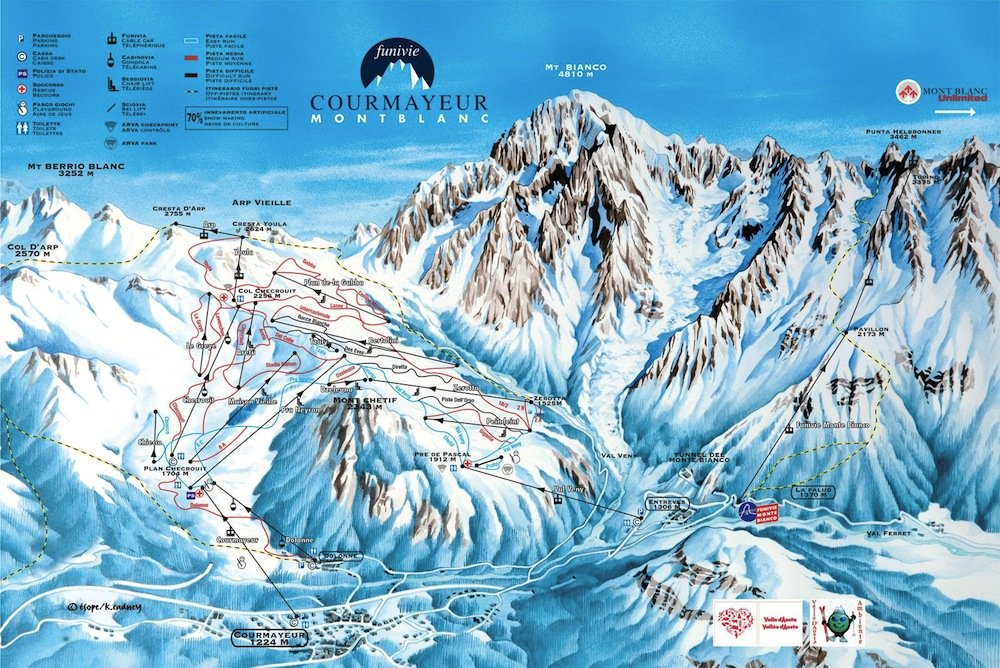 Ski resort map of Courmayeur Mont Blanc
