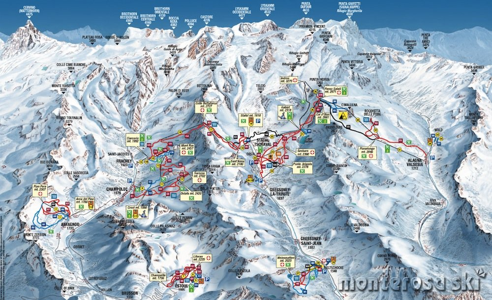Ski resort map of Monte Rosa
