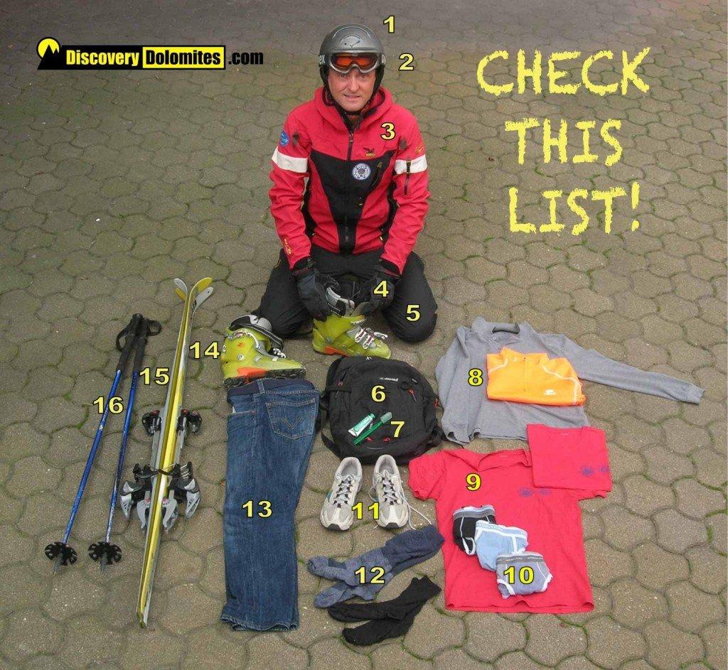 Ski Safari Dolomites: the list of you backpack