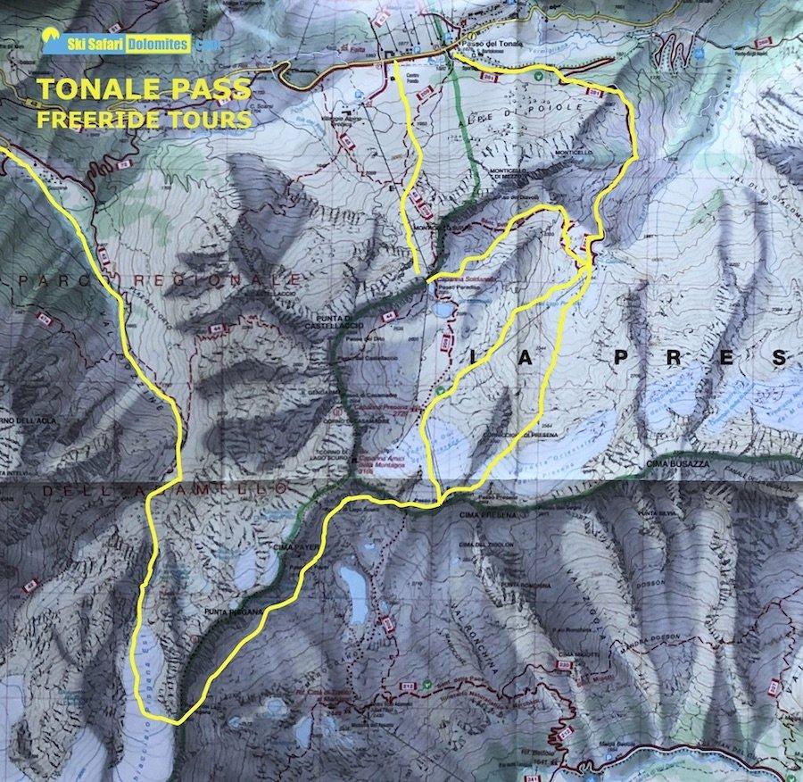 freeride skiing dolomites, tonale map