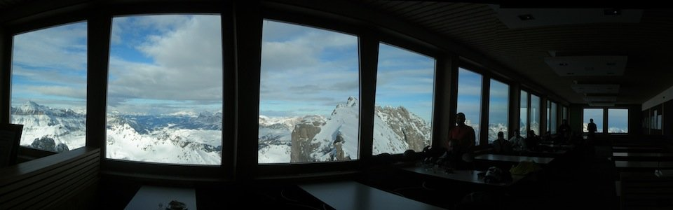Ski Safari Dolomites: the restaurant at the Marmolada cableway