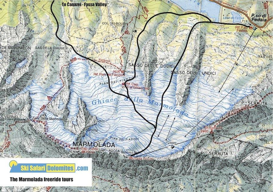 freeride dolomites marmolada map