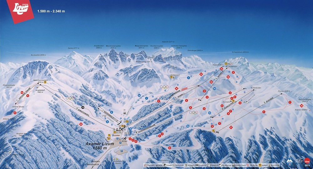 Ski resort map of Axamer Lizum
