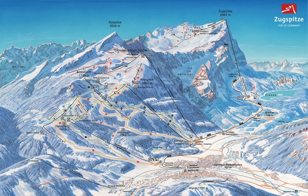 Ski resort map of Garmish Partenkircher