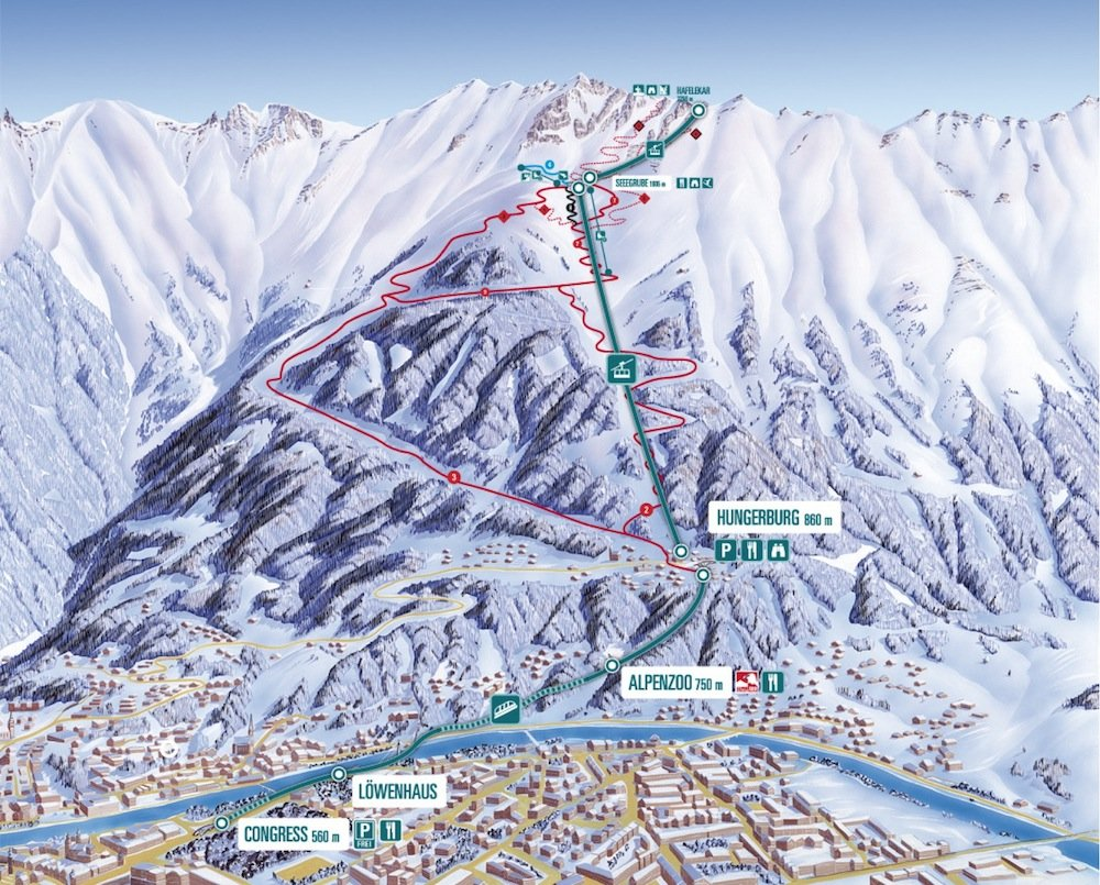 Ski resort map of Nordkette