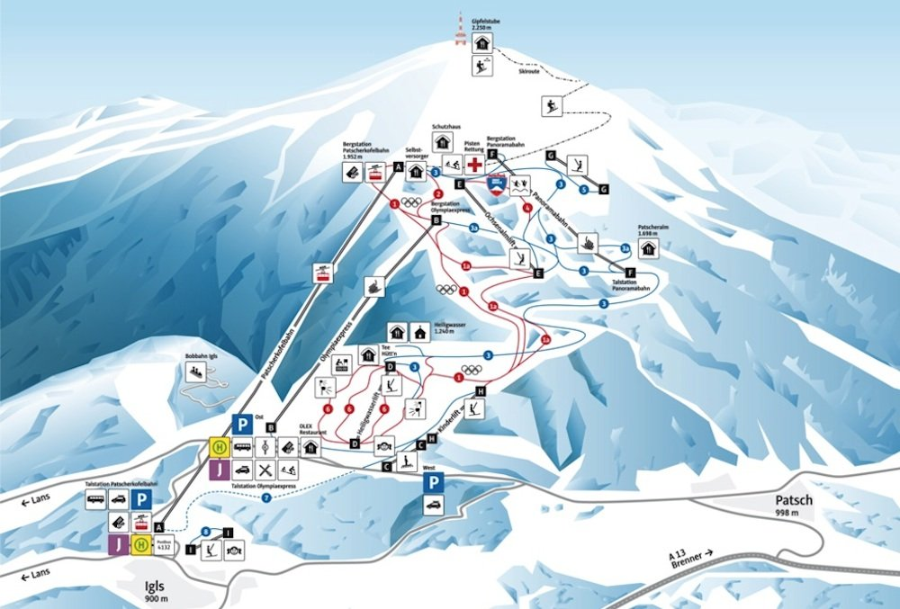 Ski resort map of Patscherkofel