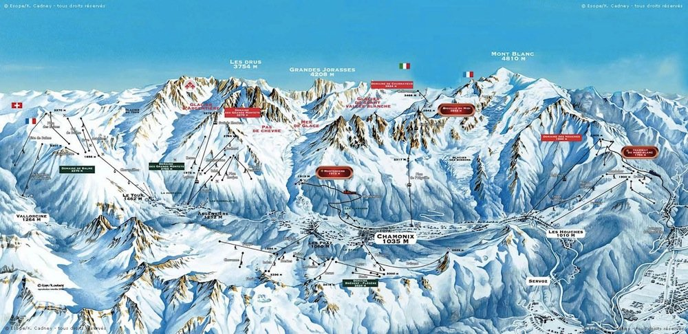 Ski resort map of Chamonix Mont Blanc